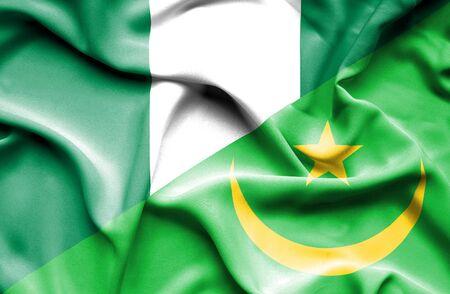 nigeria: Waving flag of Mauritania and Nigeria