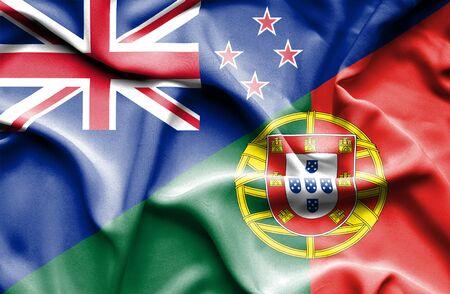 bandera de nueva zelanda: Ondeando la bandera de Portugal y Nueva Zelanda