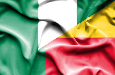 benin: Waving flag of Benin and Nigeria