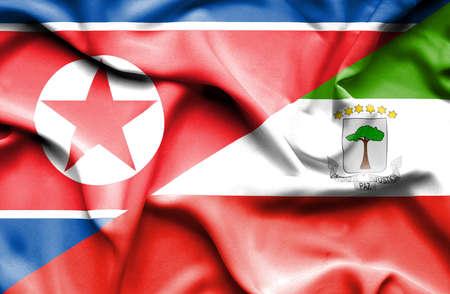 equatorial: Waving flag of Equatorial Giuinea and North Korea