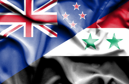 syria peace: Waving flag of Syria and New Zealand