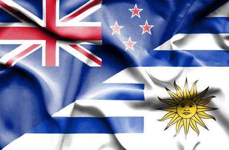 bandera de nueva zelanda: Ondeando la bandera de Uruguay y Nueva Zelanda
