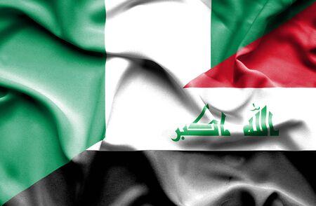 iraq war: Waving flag of Iraq and Nigeria
