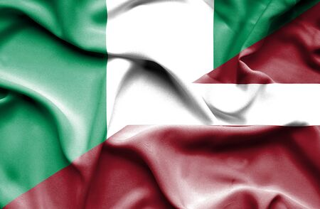 latvia: Waving flag of Latvia and Nigeria
