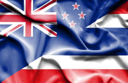 bandera de nueva zelanda: Waving flag of Thailand and New Zealand