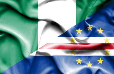cape verde: Waving flag of Cape Verde and Nigeria