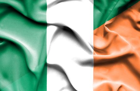 irish history: Waving flag of Ireland and Nigeria