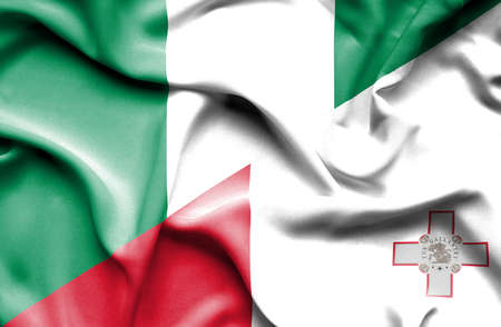 malta: Waving flag of Malta and Nigeria