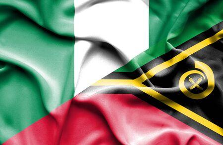 nigeria: Waving flag of Vanuatu and Nigeria Stock Photo