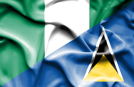 st lucia: Waving flag of St Lucia and Nigeria
