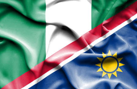 namibia: Waving flag of Namibia and Nigeria Stock Photo