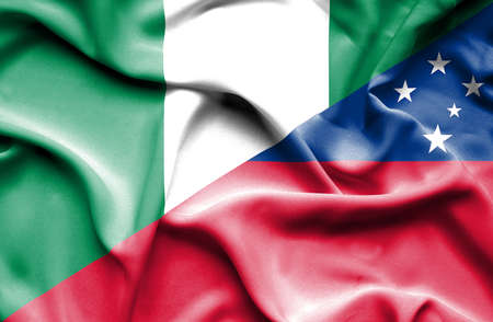 samoa: Waving flag of Samoa and Nigeria