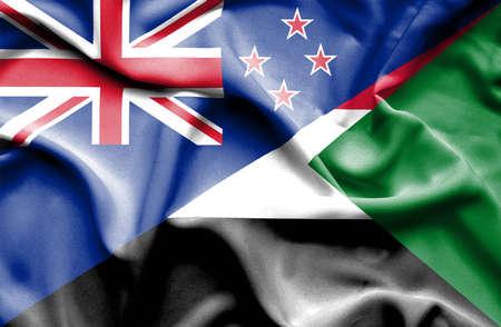 bandera de nueva zelanda: Waving flag of Sudan and New Zealand