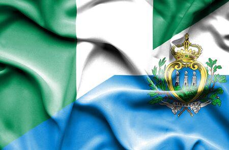 san marino: Waving flag of San Marino and Nigeria