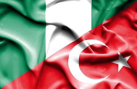 nigeria: Waving flag of Turkey and Nigeria