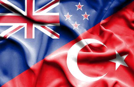 bandera de nueva zelanda: Ondeando la bandera de Turqu�a y Nueva Zelanda