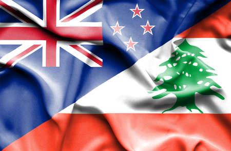 lebanon: Waving flag of Lebanon and New Zealand