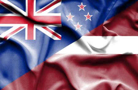bandera de nueva zelanda: Ondeando la bandera de Letonia y Nueva Zelanda