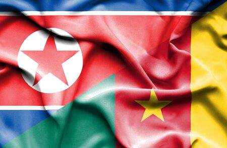 cameroonian: Waving flag of Cameroon and North Korea