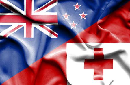 tonga: Waving flag of Tonga and New Zealand
