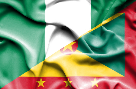 guernsey: Waving flag of Guernsey and Nigeria