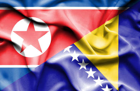 north korea: Waving flag of Bosnia and Herzegovina and North Korea