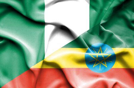 nigeria: Waving flag of Ethiopia and Nigeria