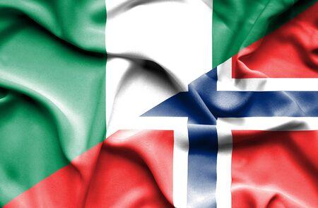 nigeria: Waving flag of Norway and Nigeria
