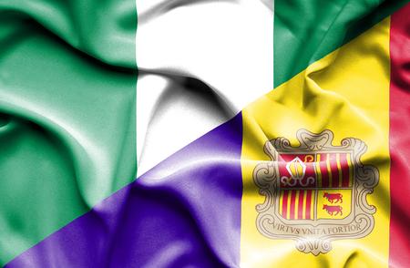 nigeria: Waving flag of Andorra and Nigeria Stock Photo