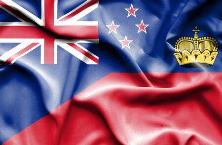 lichtenstein: Waving flag of Lichtenstein and New Zealand Stock Photo