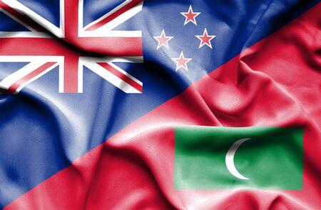 bandera de nueva zelanda: Ondeando la bandera de Maldivas y Nueva Zelanda Foto de archivo