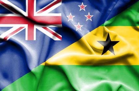 principe: Waving flag of Sao Tome and Principe and New Zealand
