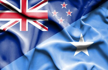 somalian culture: Waving flag of Somalia and New Zealand Stock Photo