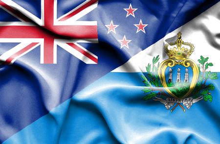 marino: Waving flag of San Marino and New Zealand
