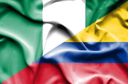 columbia: Waving flag of Columbia and Nigeria