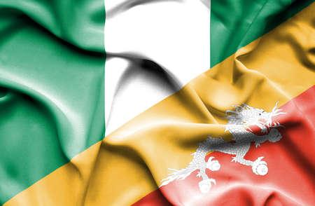 bhutan: Waving flag of Bhutan and Nigeria