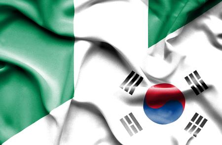 south korea: Waving flag of South Korea and Nigeria