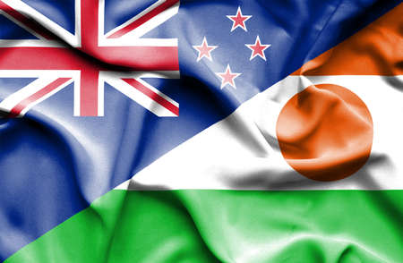 niger: Waving flag of Niger and New Zealand