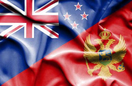 bandera de nueva zelanda: Ondeando la bandera de Montenegro y Nueva Zelanda Foto de archivo