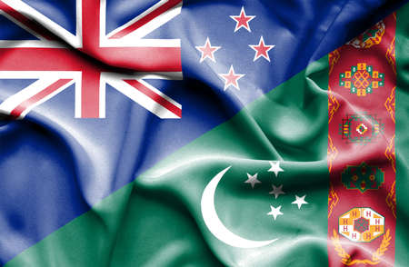 turkmenistan: Waving flag of Turkmenistan and New Zealand