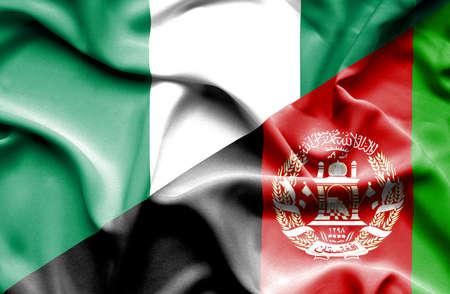 nigeria: Waving flag of Afghanistan and Nigeria