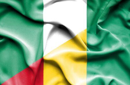 nigeria: Waving flag of Guinea and Nigeria