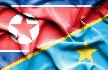 republic of korea: Waving flag of Congo Democratic Republic and North Korea