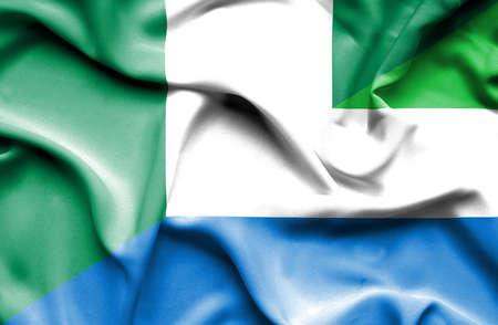 nigeria: Waving flag of Sierra Leone and Nigeria