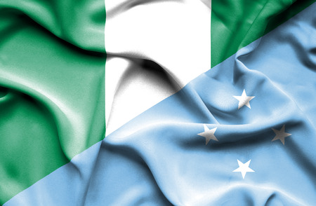 nigeria: Waving flag of Micronesia and Nigeria