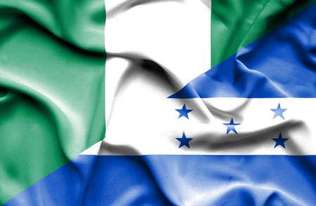 nigeria: Waving flag of Honduras and Nigeria