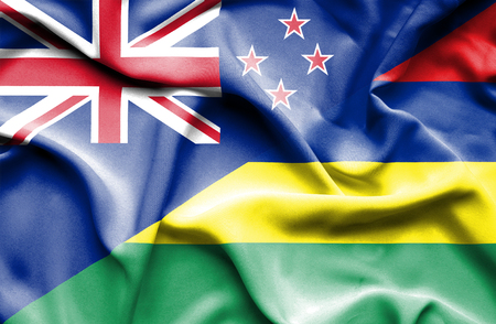 mauritius: Waving flag of Mauritius and New Zealand