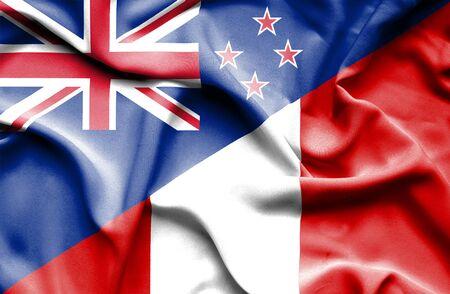 bandera de nueva zelanda: Ondeando la bandera de Perú y Nueva Zelanda Foto de archivo