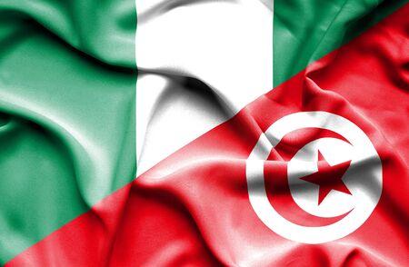nigeria: Waving flag of Tunisia and Nigeria