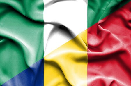 nigeria: Waving flag of Romania and Nigeria